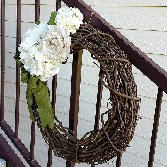 Hydrangea Wreath - Spring Wreath - Summer Wreath - Year-Round Wreath - Burlap Wreath - Hydrangea, Burlap Wreath - Hydrangea Grapevine Wreath