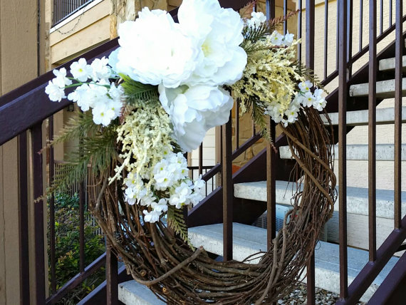 All Seasons Wreath - Spring Wreath - Summer Wreath - Bridal Wreath - White Wreath - Floral Wreath - Rustic Wreath - Country Decor